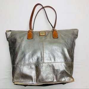 Dooney & Bourke O Ring Silver Lambskin Shopper